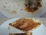 Tortilla with meat and mushrooms